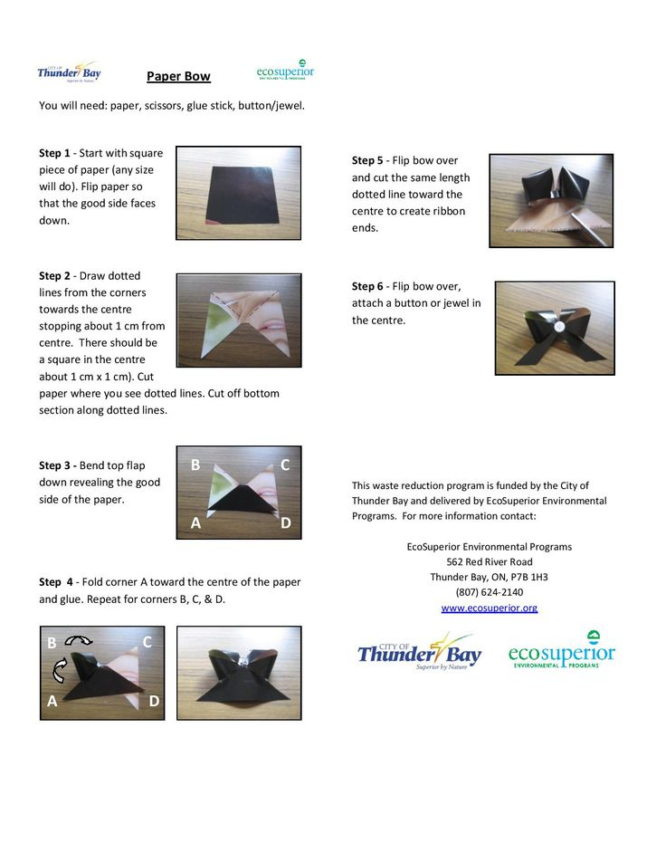 A paper bow for beginners. Recyclable and made from recycled materials.
