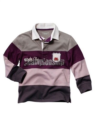 Wales rugby shirt in purple/pink/grey. Theo's own choice for new nursery wardrobe (with nods to our family's bit of Welshness and rugbyness!)