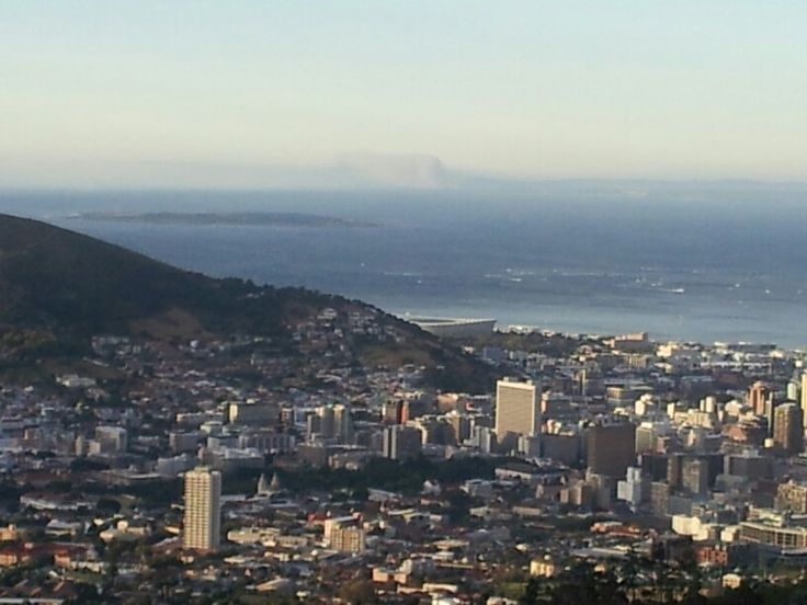 Nice view from Table Mountain: Cape Town CBD, Cape Town Stadium & Robben Island