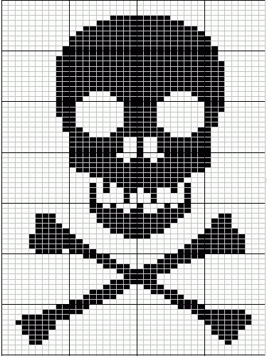Skull And Cross Bones Knitting Chart From Breienmetplezier