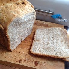 Basic Bread Machine Recipe Breads with strong white bread flour, wholemeal flour, instant yeast, salt, sugar, olive oil, warm water