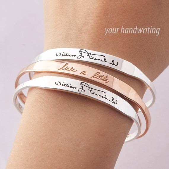 Mom Gift Memorial Bracelet Handwriting Jewelry Mom Bracelet Hand writing Cuff Bracelet Signature Jewelry Grandma Bracelet