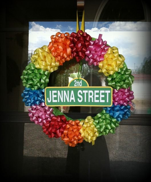 Sesame Street wreath made of bows #sesamestreet #wreath