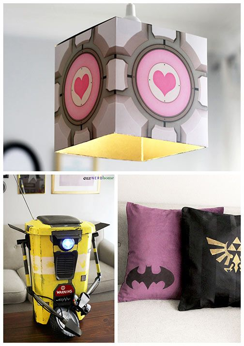 Our Nerd Home DIY Geek Projects - Portal lamp, Claptrap trash can, Batman pillow
