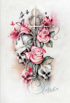 horseshoe and rose tattoo - Google Search