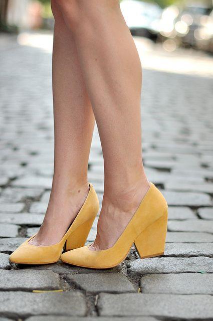 mustard block heels