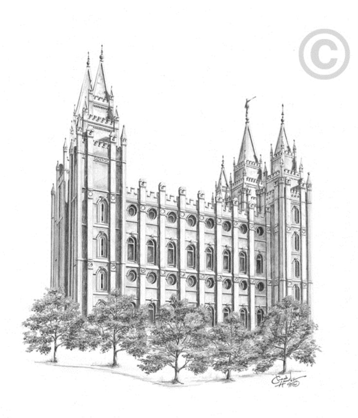 This Salt Lake Temple drawing was made using pen, charcoal, and black-ink wash and is one of a series created by the artist Chad S. Hawkins. In 1989, at the age of seventeen, Chad started this unique temple series, becoming the original LDS artist...
