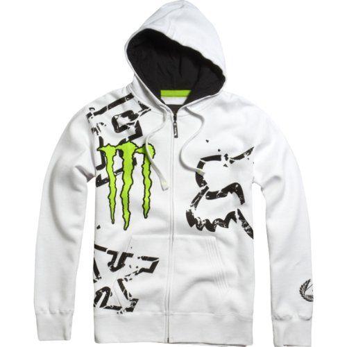 Fox Racing Monster Ricky Carmichael Replica Downfall Men's Hoody Zip Racewear Sweatshirt/Sweater - White / Large