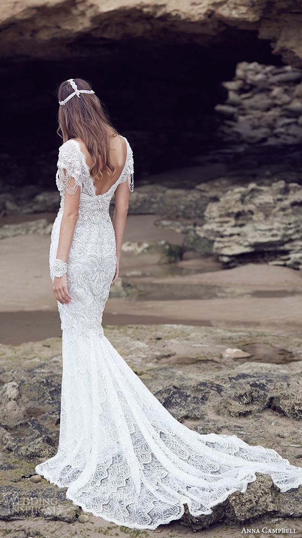 anna campbell 2015 bridal dresse cap sleeves v neckline beaded embellished bodice gorgeous fit to flare mermaid wedding dress sierra back view