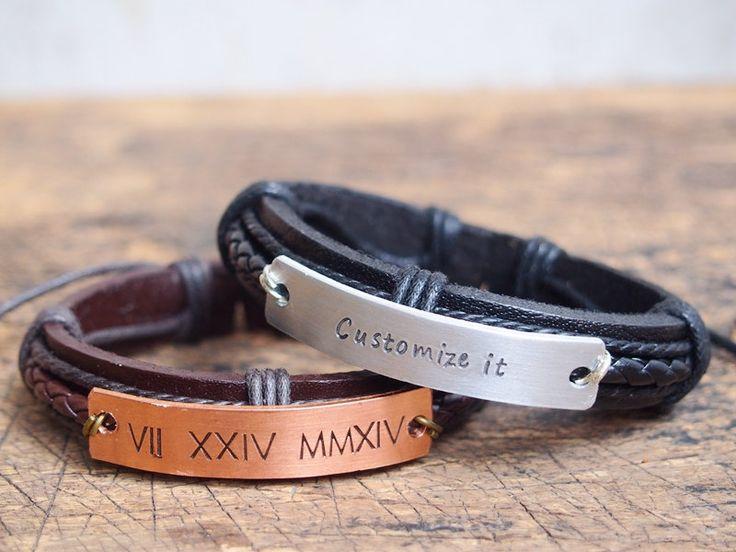 Mens personalized bracelet Men's customized Bracelet Roman Numeral bracelet Engraved men's Bracelet Anniversary bracelet boyfriend gift