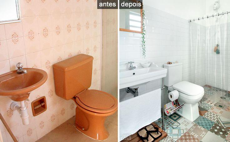 Banheiro ganha placas cer micas na parede e piso que imita for Reforma piso pequeno