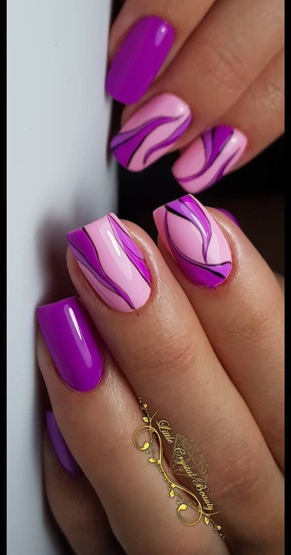 55 Easy Nail Art Design Ideas You Can Do It At Your Home Blurmark Purple Nails Purple And Pink Nails Purple Nail Designs