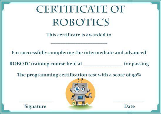 12+ Robotics Certificate Templates For Training Institutes, Trainers