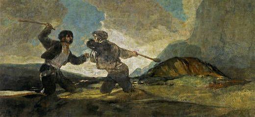[ Francisco Goya | Duelo a garrotazos | or duel with cudgels | Museo del Prado, Madrid, Spain ]