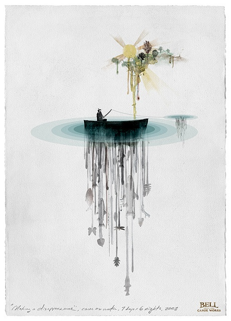 LOVE this watercolor! The image beneath the boat makes me smile.