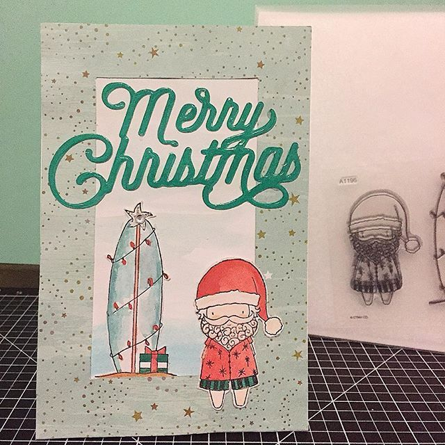 Merry Christmas Card with Surfin' Santa (A1196) stamp set and Oh Deer (X7214B) Paper Pack from the Close To My Heart Holiday Expressions. www.maz.closetomyheart.com.au