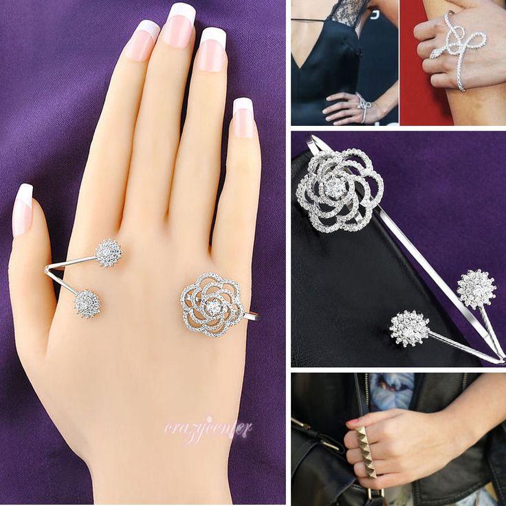 Silver Tone Aaa Zirconia Flower Palm Bracelet Camellia Hand Cuff Palm Cuff