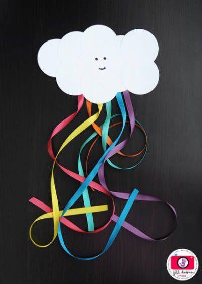 manualidad de primavera para niños  con cartulina y cintas