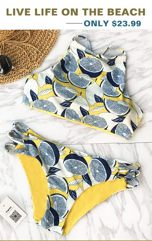 This summer sale can't get any hotter! Cupshe My Heart Pounds Lemon Bikini Set can make you feel sweet sunshine and tropical breezes. Treat yourself to the hottest items of the season. Don't miss this.