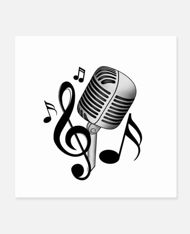 Mikrofon Poster Spreadshirt In 2021 Musik Liebe Notenschlussel Poster