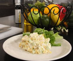 Cottage Cheese Chicken Salad...with hard boiled egg, light mayo, celery and tad bit of shredded low fat cheese...YUM
