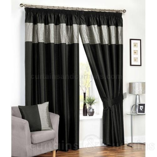 Black Silver Ready Made Lined Curtains   Pencil Pleat Curtains UK