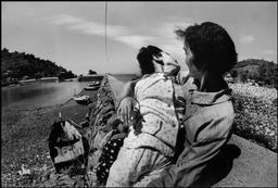 JAPAN. Minamata. Takak ISAYAMA, a 12 year old fetal (congenital) victim of the Minamata Disease, with her mother. 1971.