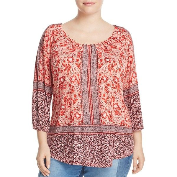 Lucky Brand Plus Print Peasant Top ($63) ❤ liked on Polyvore featuring plus size women's fashion, plus size clothing, plus size tops, plus size blouses, coral multi, coral blouse, red blouse, peasant tops, floral print blouse and floral tops