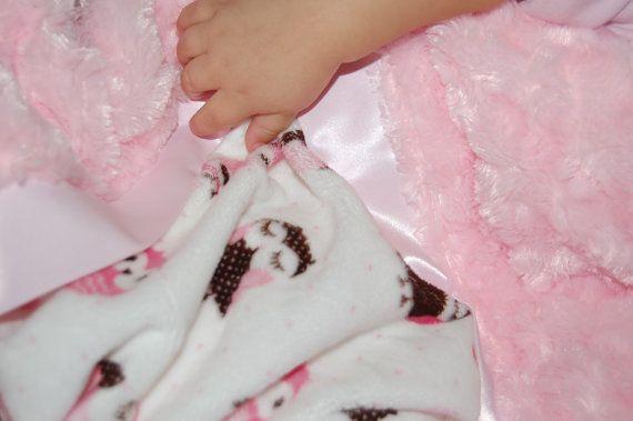 Minky Owl Baby Blanket with Pink Minky Swirl by SleepLittleAngel, $45.00