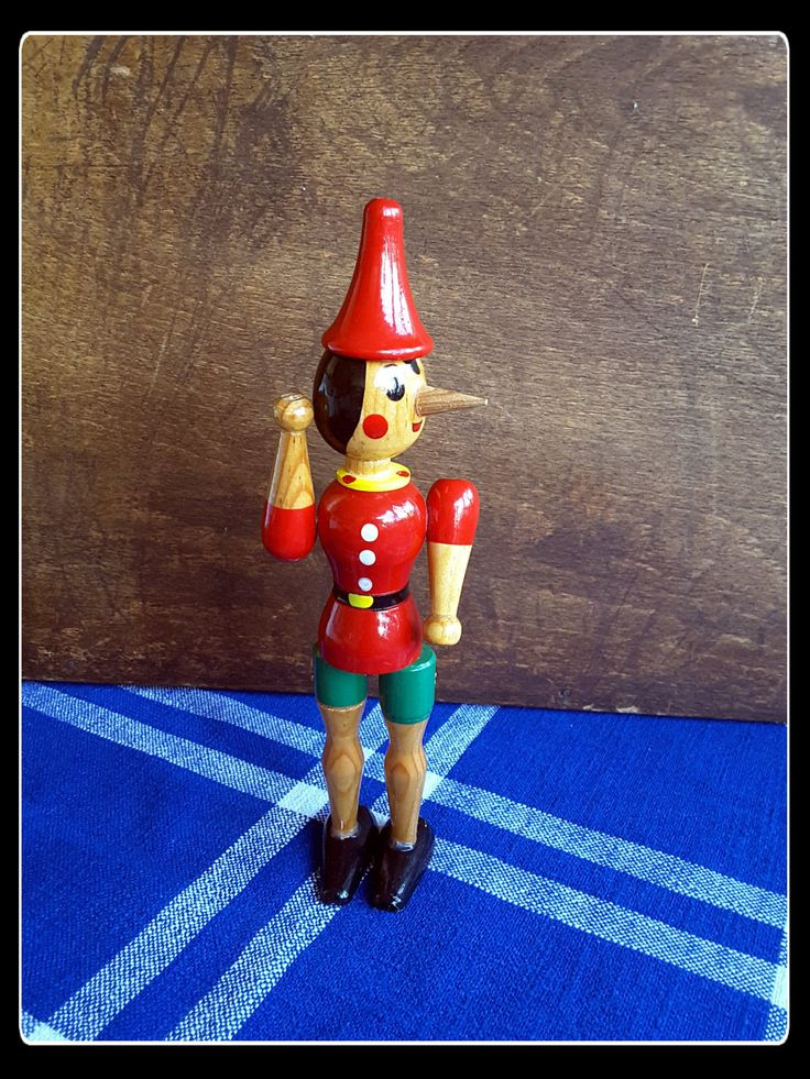 Vintage retro wooden Pinocchio toy by PawhillTreasures on Etsy