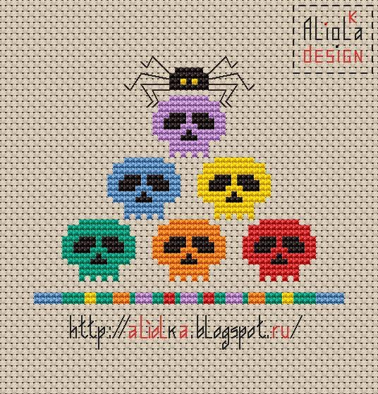 My tvorilki: Skulls, spiders and pumpkins! Hull continues ...free chart cross stitch