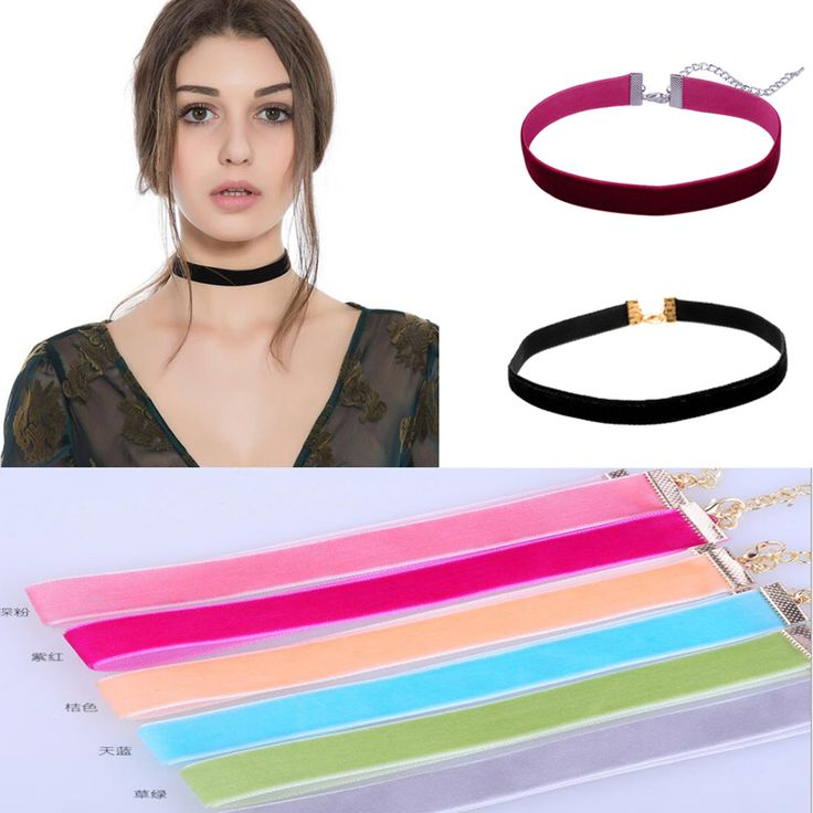 Colorful Redwine Black Yellow Pink Velvet Ribbon Choker Necklace Jewelery Gothic Punk Handmade Necklaces Jewelry for Women 3710