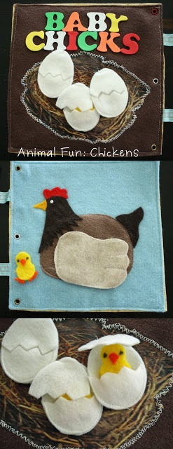 Used iron-on transfer for the nest, and made the eggs attach with velcro, and sewed them so that the baby chickie could go in and out.  Mother hen's wing lifts up so chickies can be with mama too. icandy handmade: (iCandy) Quiet Book Part 1