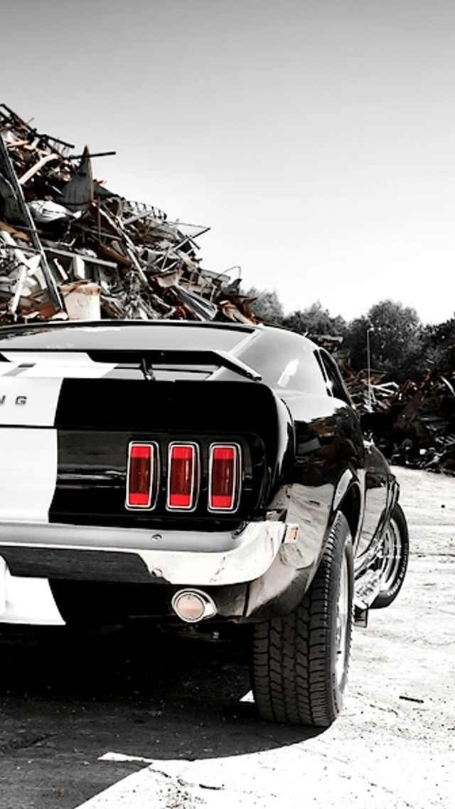 Black And White Classic Ford Mustang