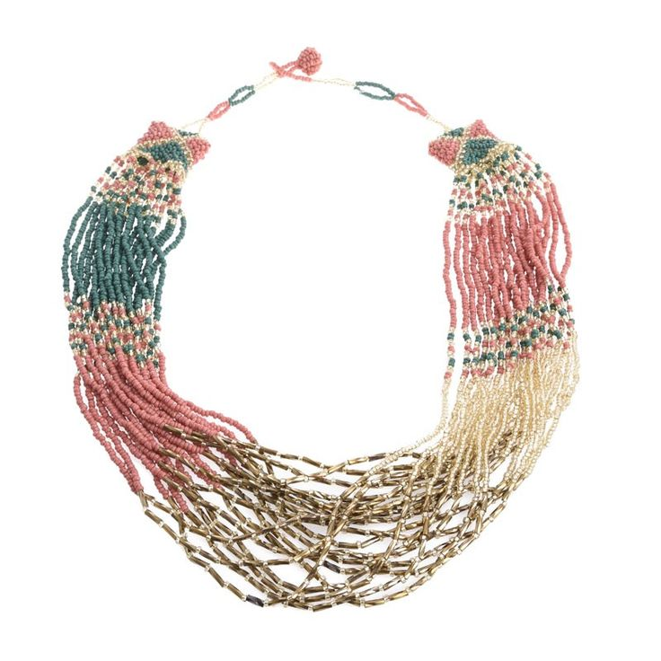 NECKLACE IN COPPER RED-GREEN-GOLD COLORS - Necklaces - Jewellery - Accessories