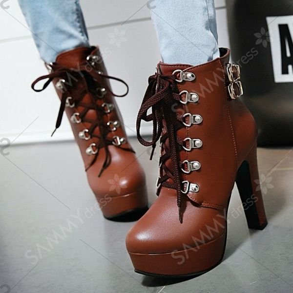 Buckle Lace-Up Chunky Heel Short Boots - BROWN 37