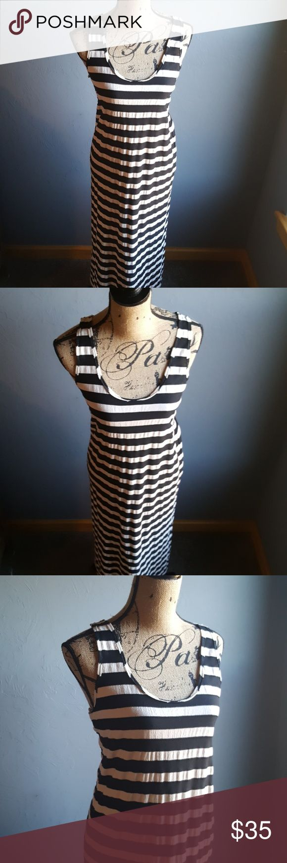 """Anthro Claeson Blank and White Stripe Beach Dress Stylish and classic Racer back Thick-ish material  Anthropologie Claeson Brand Bust 18"""" Length 56"""" Anthropologie Dresses Maxi"""