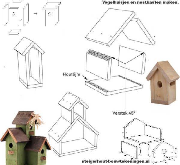 Nestkasten en decoratieve vogelhuisjes maken van een steigerplank.
