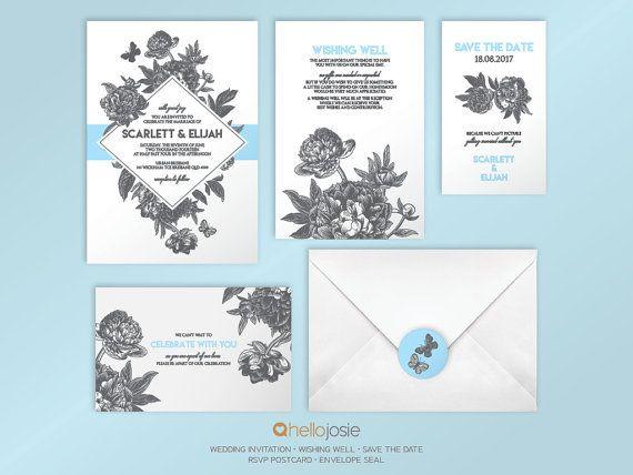 Botanical Drawing Printable DIY Wedding Invitation by HelloJosie
