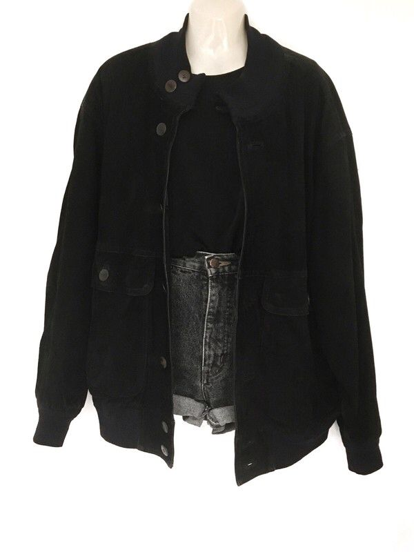 My True Vintage Suede Jacket Blouson Leather Jacket Black Oversize Urban Street Style Unisex by true vintage. Size one size fits all 60.00 …