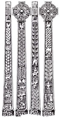 The Gosforth cross, a 10th century Viking cross in St. Mary's church yard, Gosforth.  It depicts various scenes from Norse mythology.  Lots of potential for embroidery designs!
