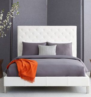 Love the leather headboard and the contrast of white, grey and orange.  Could do white headboard, grey duvet, blue and berry accent pillows and throw blanket.
