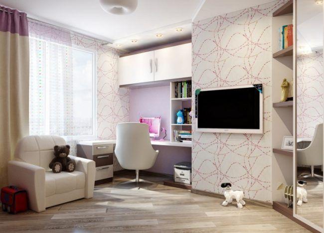 Jugendzimmer Madchenzimmer Modern Weiss Sessel Schreibtisch Tapete Fernseher