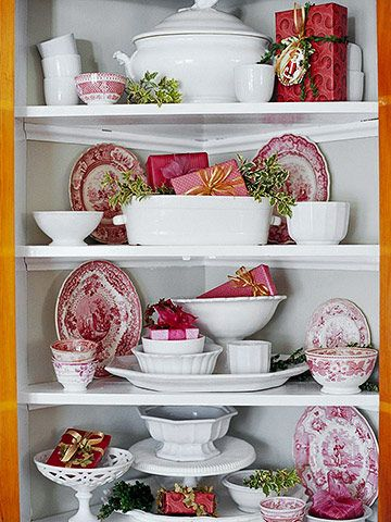 """Tuck some small wrapped """"presents"""" into a china hutch for a sweet touch of Christmas: Holiday, Red Transferware, Red And White, Idea, Red Dishes, White Dishes, Christmas Display"""