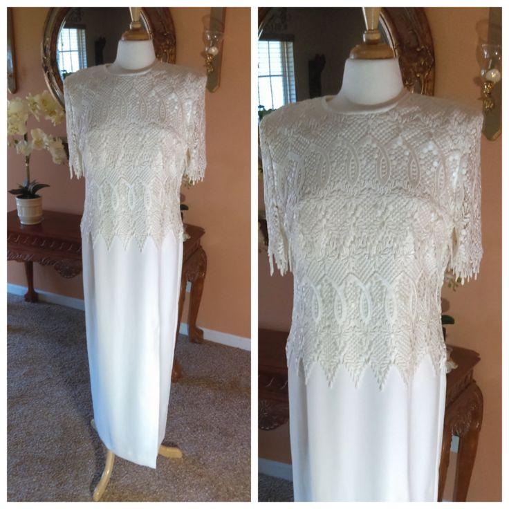 Elegant Ivory Dress Vintage Lace Dress with Hight Slit By Karen Miller Bride Dress or Mother of The Bride Size 14 by GenesisVintageShop on Etsy