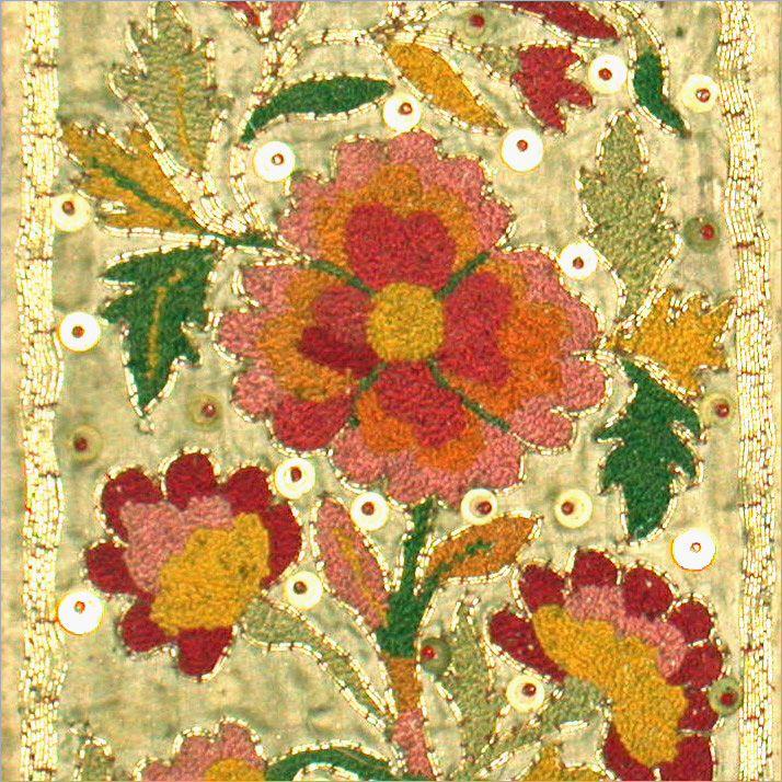 Antique Minangkabau embroidery . Cotton on silk.  West Sumatra, Indonesia
