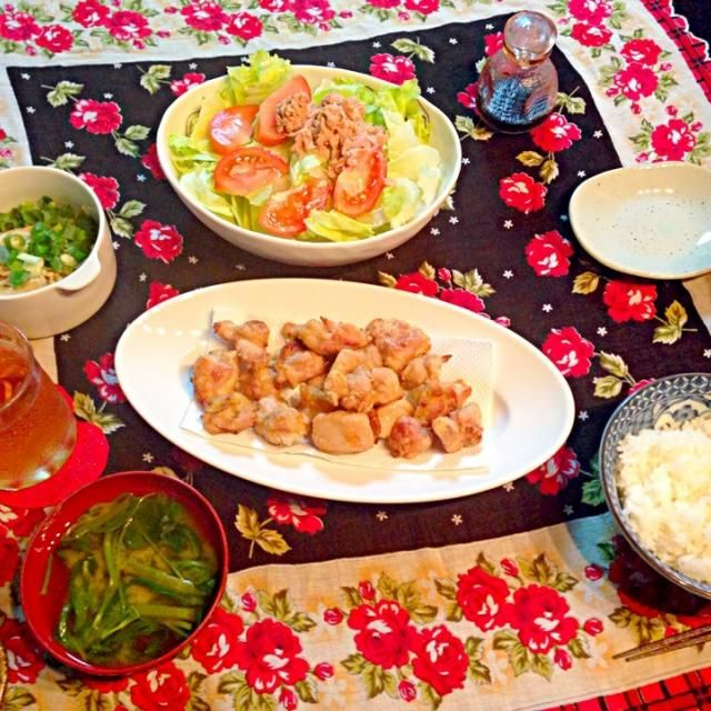 ヘルシオで初からあげ〜!簡単サクサクヘルシーとは言うことなし! - 5件のもぐもぐ - からあげ、えのきポン酢、ツナサラダ、空心菜の味噌汁 by m2chibi