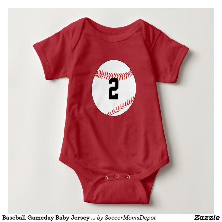 Baseball Gameday Baby Jersey Number Bodysuit #baseball #baseballonesie #baseballbaby #baseballbaby