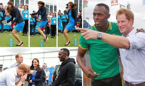 Jumping Kate gets in the Games spirit as Prince Harry meets old rival Usain Bolt