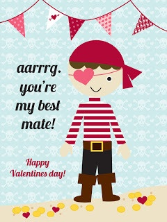 Free Pirate Themed Printable Valentines...attach with ribbon to snack size bags of Pirate's Booty